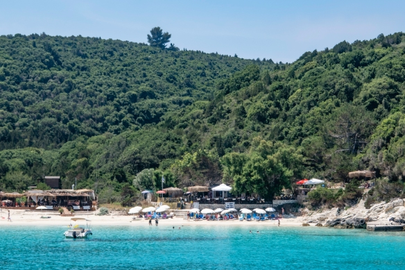 Vrika Beach on the isle of Antipaxoi where we went ashore and had a relaxing luncheon under umbrellas on the terrace of a local restaurant overlooking the beach and sparkling blue waters