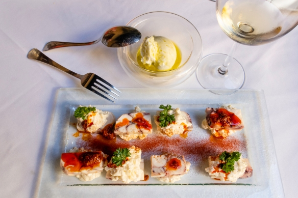 An appetizer of octopus terrine with potato salad, to be eaten with a touch of the olive oil sorbet, Restaurante Fabio Santana, Vegueta (Old Town), Las Palmas, Gran Cararia, Canary Islan