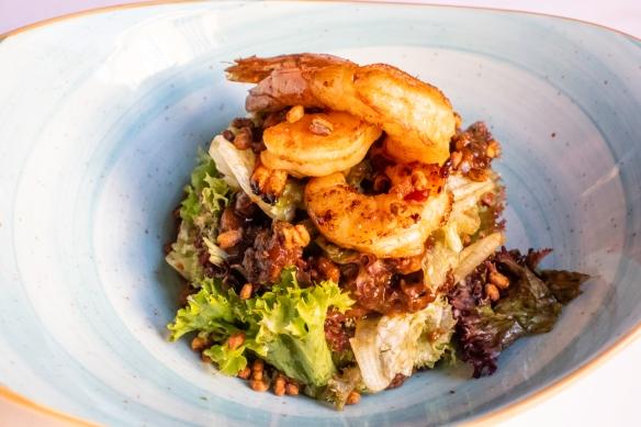 An appetizer of warm prawn salad, Restaurante Fabio Santana, Vegueta (Old Town), Las Palmas, Gran Cararia, Canary Islands