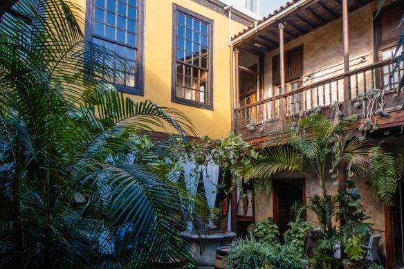 The dining tables are under the balcony of the courtyard at Restaurante Fabio Santana, Vegueta (Old Town), Las Palmas, Gran Cararia, Canary Islands
