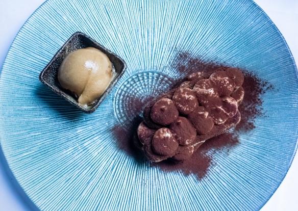 The Spanish rendition of the Italian Tiramisu with coffee sorbet, Restaurante Fabio Santana, Vegueta (Old Town), Las Palmas, Gran Cararia, Canary Islands