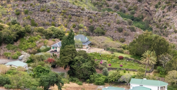 A close-up of the Briars Pavilion in the green valley of the Briars, just east of Jamestown, Saint Helena Island