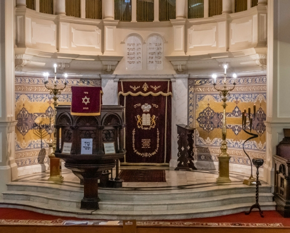 A close up of the interior of Great Synagogue in Cape Town, South Africa