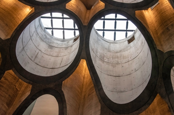 """A close-up of the rooftop skylight"""" sections of carved out former concrete grain silos at Zeitz Museum of Contemporary Art Africa, Cape Town, South Africa"""