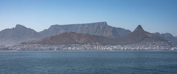 A close up of the three mountains defining the geographical landscape of Cape Town, South Africa- Devil_s Peak (on the left), Table Mountain (center) and Lion_s head (on the right, p