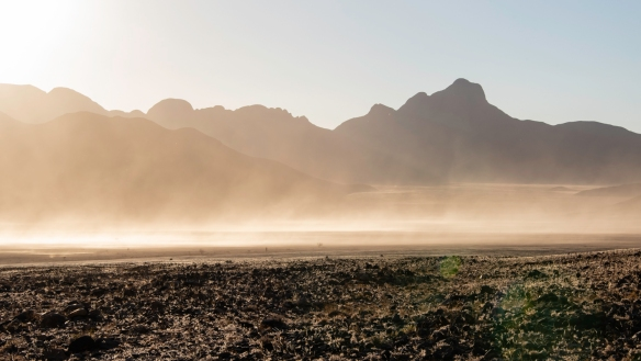 A dust storm raged all morning as we set out for our hike in NamibRand Nature Reserve, Namibia