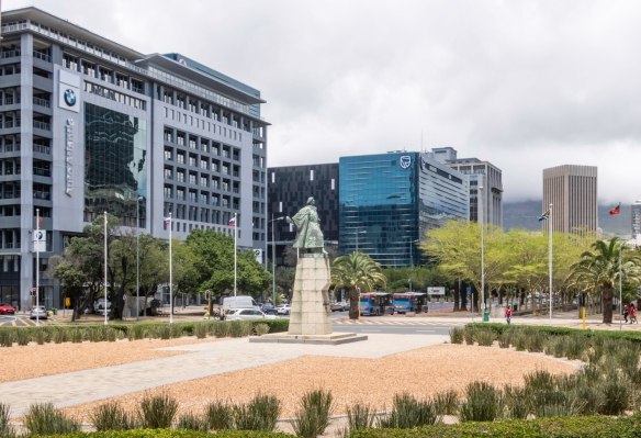 A statue of Bartholomeu Dias, the Portuguese explorer who discovered the Cape of Good Hope in 1488, sits at the foot of Heerengracht Street in downtown Cape Town, South Africa