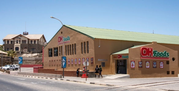 "Besides the French SPAR grocery store, Lüderitz, Namibia, has a locally operated grocery with low prices (""OK Foods"")"