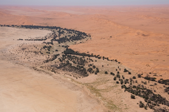 Flying from Walvis Bay to Sossusvlei (our destination), famous for its spectacular, tall red sand dunes, we followed part of the course of the Kuiseb River out of Walvis Bay east through