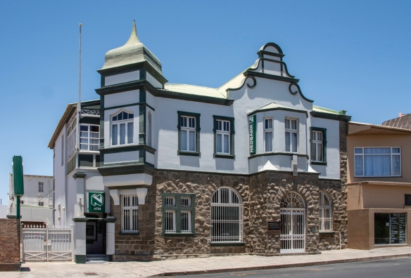 Nedbank today occupies the circa 1909 bank building in Lüderitz that housed the first bank in Namibia