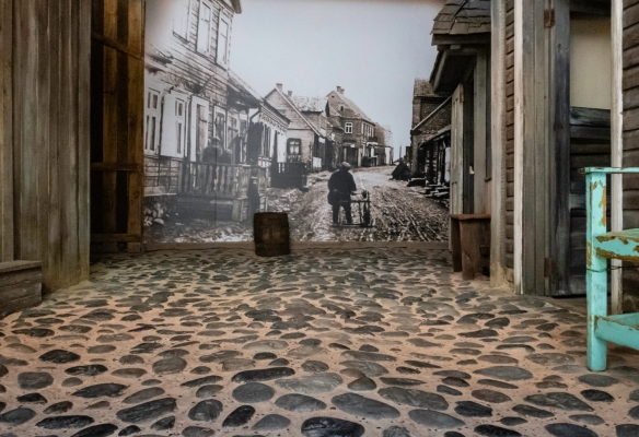 On the ground floor of the South African Jewish Museum is a reconstructed shtetl that portrays a typical small village in Lithuania, the country from which most South African Jews trace