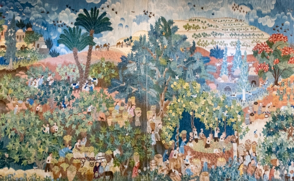 One of several tapestries by a well known South African artist on display at the Tokara Restaurant at Tokara Wine Estate, Stellenbosch, South Africa