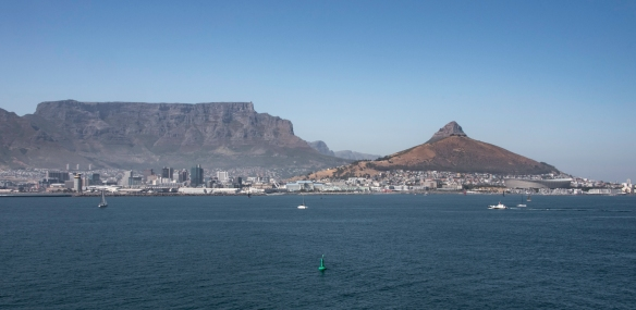 Sailing east to the harbor areas on the north side of Cape Town, South Africa, with the Cape Town Stadium, built for the 2010 FIFA -- Fédération Internationale de Football Associatio