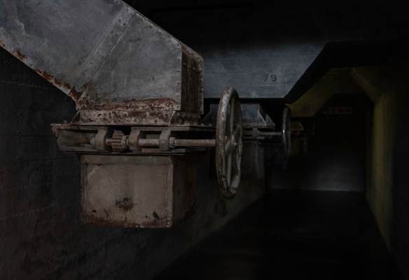 Silo grain chutes and control valves dating back to the construction of the old Grain Silo in 1921 are preserved in the basement of Zeitz Museum of Contemporary Art Africa, Cape Town, Sou