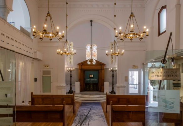 The entrance to the South African Jewish Museum, Cape Town, South Africa, is through the classical revival-style building, St. John_s Street Synagogue, the first custom-built shul ever