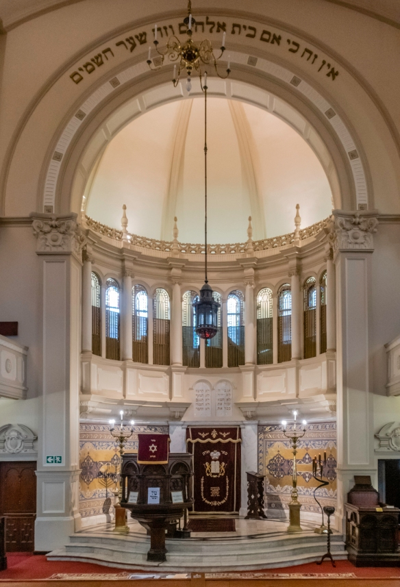 The interior of Great Synagogue in Cape Town, South Africa; the 2013 stained glass windows (pictured) replaced the original stained glass dating back to 1936