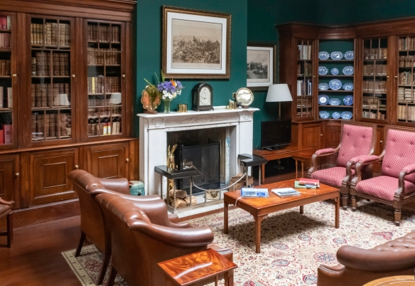 The library at the Plantation House has leather-bound volumes dating back to the mid-1700s, Saint Helena Island