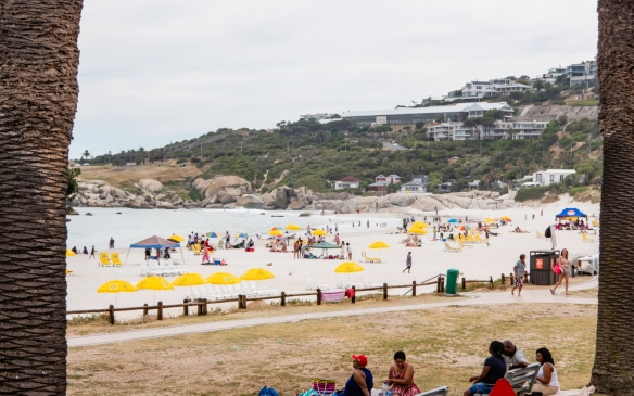 The northern end of the popular beach at Camps Bay, Cape Town, South Africa