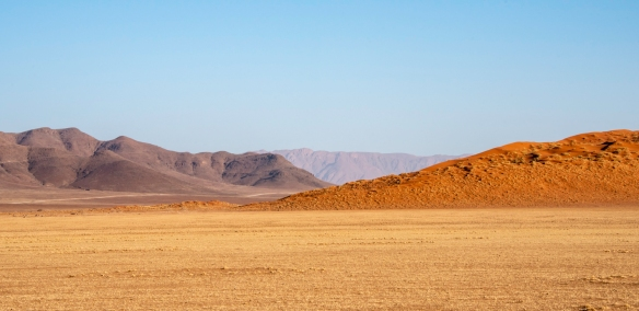 The red of the sand dunes contrasts with the darker soil of the mountains, behind, NamibRand Nature Reserve, near Sossusvlei, Namibia