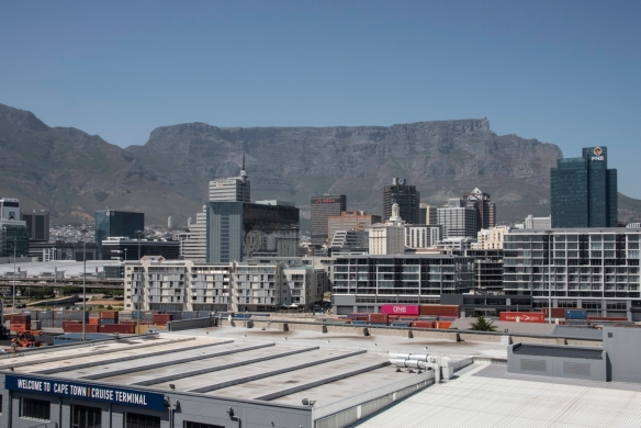 The view of downtown Cape Town and Table Mountain from our initial berth in front of the Cape Town Cruise Terminal