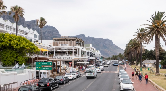 Victoria Road as it goes through Camps Bay, Cape Town, South Africa
