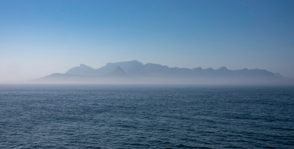 We sailed into slightly foggy Cape Town, South Africa, after five-plus days at sea out of St. Helena Island, approaching from the northwest, providing a very dramatic view of the city an