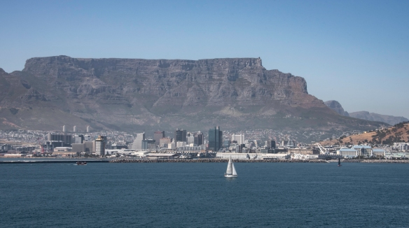 We sailed past the V&A Harbor-Waterfront to turn at the jetty into the main, Cape Town Harbor, where the Cruise Terminal is located