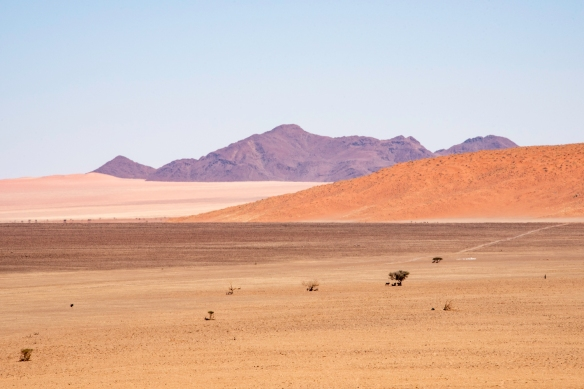 White and red sand dunes are visible in front of the distant mountains, behind the large sand and rock pan in front of the &Beyond Sossusvlei Desert Lodge, Namibia