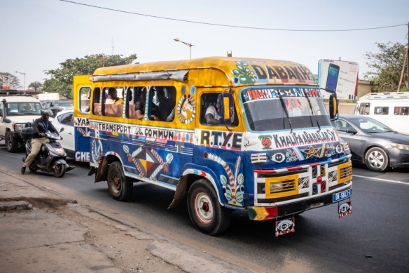 A brightly painted local jitney providing transportation around Dakar, Senegal