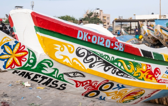 A close up of a fishing boat on Soumbédioune beach, Dakar, Senegal
