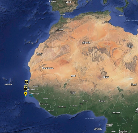 Dakar, Senegal, is the westernmost point of Africa, seen on this map just to the right of the yellow square boxes containing camera icons (the map is courtesy of the ship_s expedition