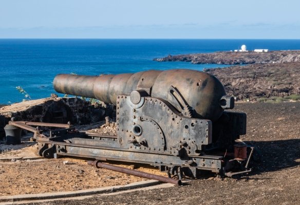 Fort Bedford, the newest of the three forts on Ascension Island, was created between 1903 and 1906; the 5.5 inch gun pictured (one of two) was placed there at the beginning of World War