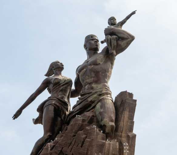 Monument de la Renaissance Africaine (African Renaissance Monument), 49 meters (161 feet) tall, was built in 2010 to commemorate 50 years of independence from France -- as a symbol of bo
