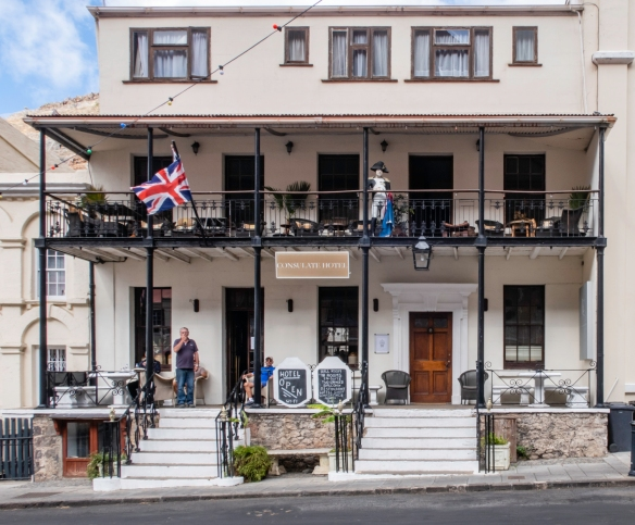 Note the statue of Napoleon on the upper balcony at the Consulate Hotel on the main street in Jamestown, Saint Helena Island