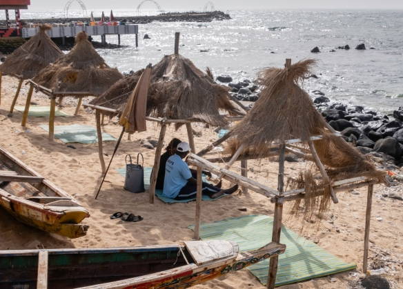 Relaxing on a beach on the Atlantic Ocean in Dakar, Senegal, near the westernmost tip of Africa