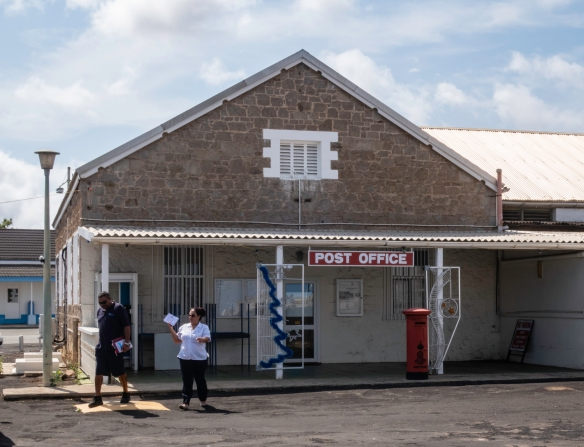 The British Post Office in the cent of Georgetown, Ascension Island, across from the mini-market (where we found refreshing crushed ice smoothies)