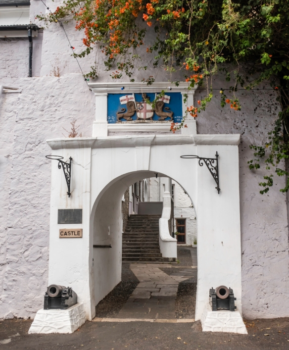 """The entrance to the """"Castle"""" that was built by the British in 1659 and serves as the seat of government and contains the Archives and Administration of the island, Jamestown, Saint H"""