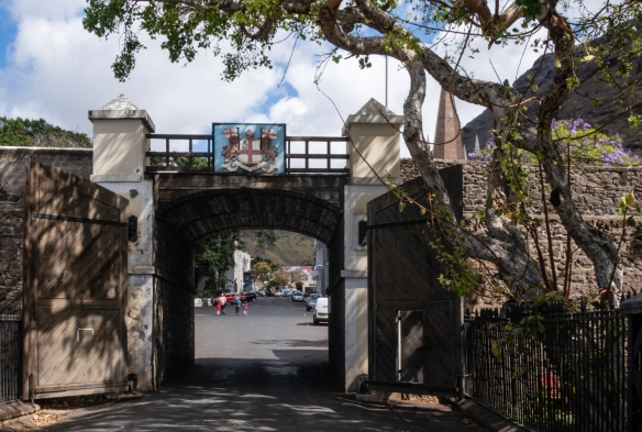 The entry gate (after the moat) in the town wall built by the English in Jamestown to protect Saint Helena Island from invaders who might want to help the French general and ex-Emperor,
