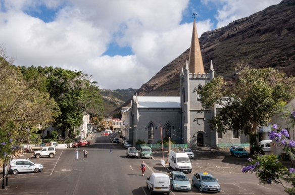 The view from the entry gate in the town wall of Jamestown, Saint Helena Island, with St. James Church in the foreground