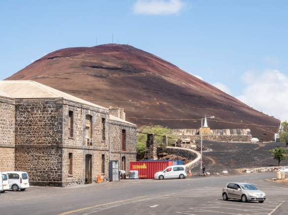 The view of the island_s principal small town, Georgetown, from the Zodiac landing site (also the spot where cargo ships unload their cargo by small boats), Ascension Island; the steep