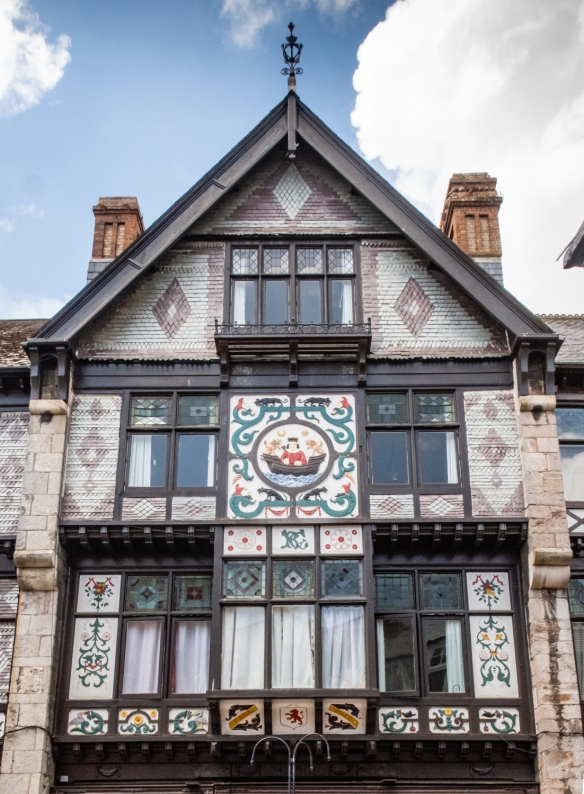 A beautifully decorated Tudor-style building in Dartmouth, England