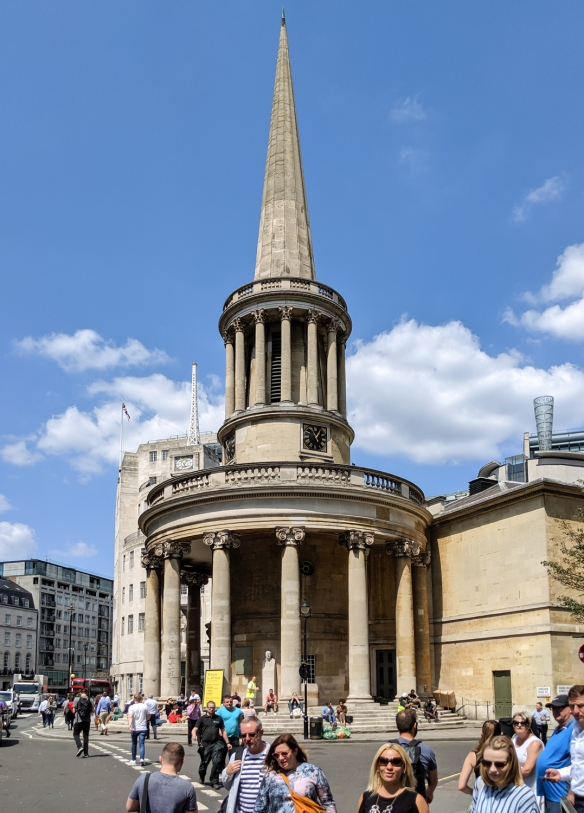 All Souls Church of Langham Place, London is a 19th-century, working evangelical church, designed by John Nash, with an ornate galleried hall