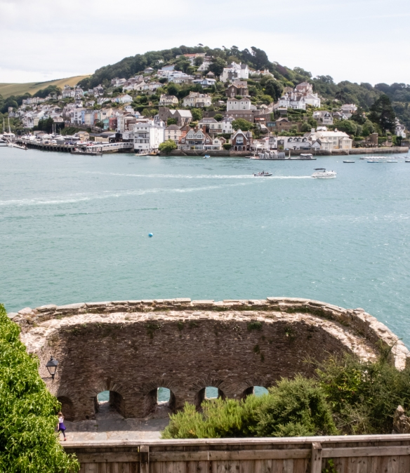 In the foreground in Dartmouth, England, is Bayard's Cove Fort, a 16th century fort, built by the Borough of Dartmouth, that contained heavy guns to protect the town from enemy ships, trading rivals and pirates