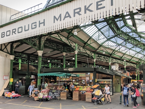 The entry to Borough Market, the most popular daily market in the city, located on the south bank of the River Thames, London, England