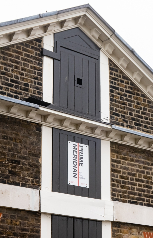 The Prime Meridian of the World (longitude 0 degrees – also known as the Greenwich Meridian) is mounted on one of the buildings of the (former) Royal Observatory in Greenwich, London, England