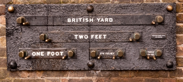 These British Imperial Standards (public standards of length) were first mounted outside the Royal Observatory main gates some time before 1866 to enable the public to check measures of length; Greenwich, London, England