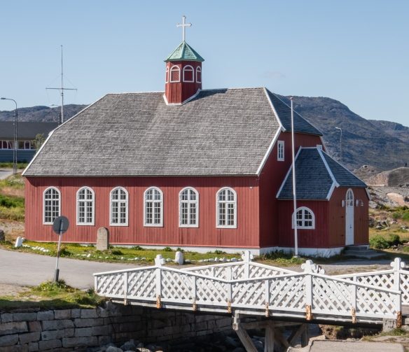 A church in Qaqortoq, Greenland, located behind the fountain pictured above