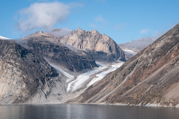 A close up of a glacier flowing down to Sam Ford Fjord (Kangiqtualuk Uqquqti) on the northeast side of Canada's Baffin Island in the Arctic Territory of Nunavut