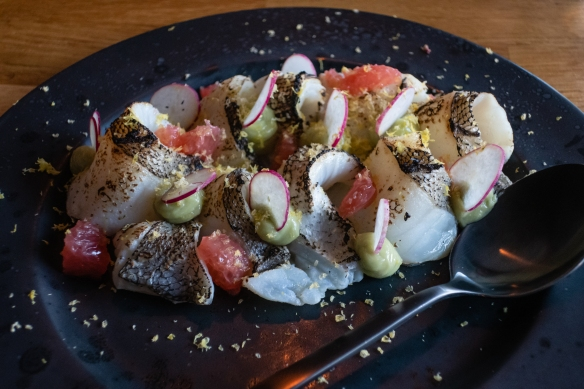 A first course of a cold salad of local haddock, Frumbiti Restaurant, Tórshavn, Faroe Islands