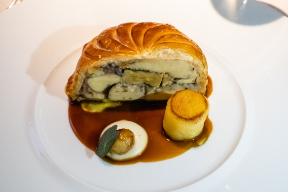 "A main course of Truffled Chicken ""Tourte"" with Foie Gras, Port, Périgord Truffle(a specialty of the chef, not on the regular menu) accompanied by 2014 Savigny-Les-Beaune ""Ez Connardises"", Domaine Françoise Andre , Restaurant Patrick Guilbaud"